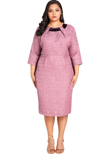 Frauen Sexy Plus Size Kleid Solide Geometrie Elegant Slim Midi Kleid Bodycon Kleid Rosa