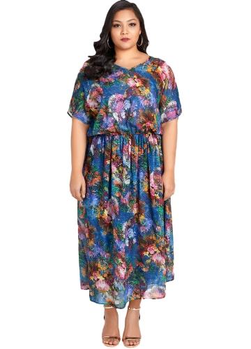 Kobiety Sexy Plus rozmiar Szyfonowa sukienka kwiatowy print Wzburzyć elegancka szczupła długa sukienka luźna niebieska