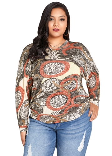 Neue Frauen Plus Size Bluse Geometric Print Fledermaus Long Sleeves O-Ausschnitt beiläufige lose Top