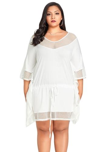 Nowych kobiet Plus rozmiar luźna sukienka Mesh Splice V-Neck Bat rękawy Sznurkiem Casual Midi sukienki