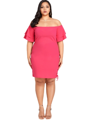 Frauen Sexy Plus Size Kleid Solid Off der Schulter Layer Sleeve Lace Up Elegantes Dünnes Kleid Rose