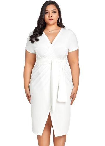 Fashion Women Cross Over Tie Talia Talia Sukienka V Neck z krótkim rękawem Plus rozmiar Party Club Midi Dress White