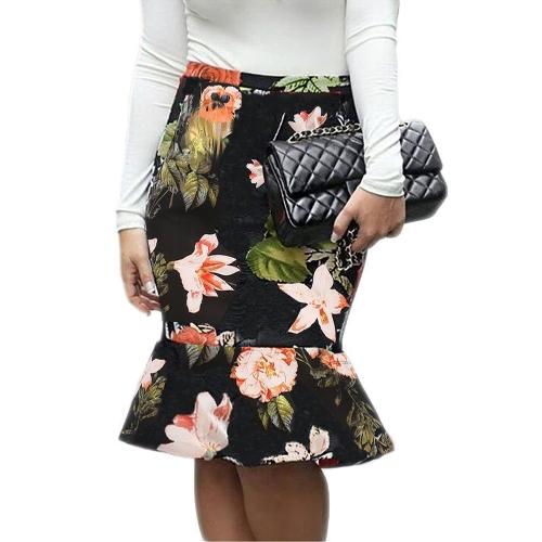 Damska spódnica syrenka w kwiatowy wzór w kratę z nadrukiem Wysoka talia Slim Bodycon Potargana elegancka spódnica