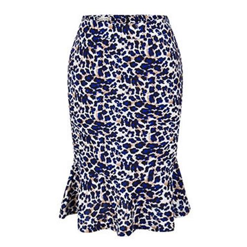 Falda sirena de las mujeres Falda estampada floral de la cintura alta Falda elegante rizada de Bodycon de la cintura alta