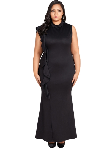 Sexy Frauen Kleid Plus Size Rüschen Seite Stehkragen Ärmelloses Bodycon Mini Kleid Oversize Party Clubwear Schwarz