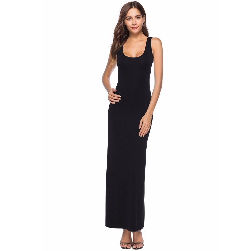 Summer Women Long Maxi Dress Scoop Neck Jednolity kolor Casual Dress bez rękawów