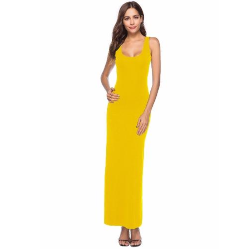 Vestido maxi sin mangas de la playa del color sólido del verano de las mujeres del verano vestido largo sin mangas