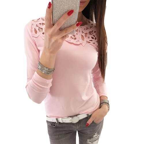 New Sexy Women Slim T-Shirt Lace Splice O Neck Long Sleeves Hollow Out Solid Color Top Pink/White