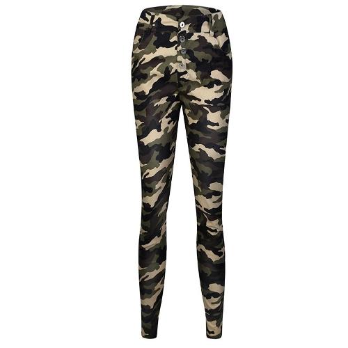 Nowe, seksowne kobiety, kamuflaż, drukowane spodnie z ołówkiem, w połowie talii, kieszenie, legginsy, spodnie w kolorze zielonym