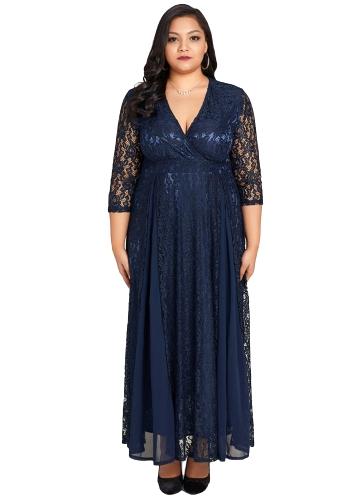 Kobiety Plus rozmiar sukni Solidna koronkowa szyfonowa głęboka V 3/4 rękawie Wysoka talia Maxi suknia Elegancka impreza