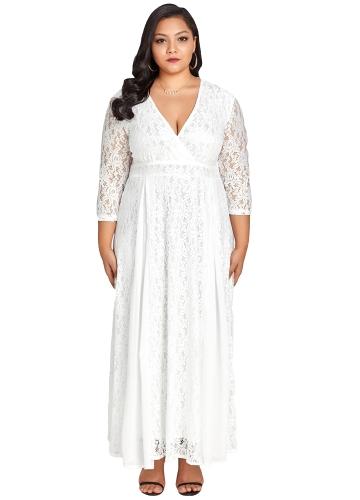Women Plus Size Dress Solid Lace Chiffon Deep V 3/4 Sleeve High Waist Maxi  Gown Elegant Party Wear