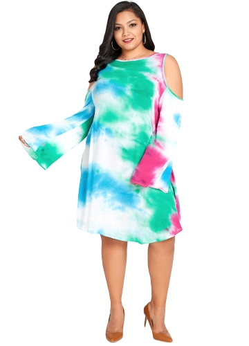 Mulheres Plus Size Vestido Aquarela Gradient Imprimir Ombro Frio Longo Flare Sleeve Midi One-Piece Verde