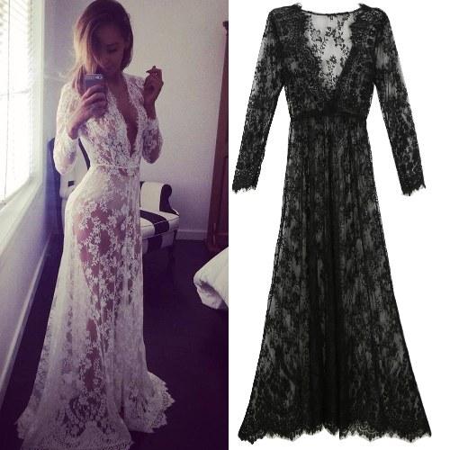 Frauen-Strand-tiefer V-Ausschnitt-langes Kleid-Spitze vertuschen transparentes Maxi-Kleid