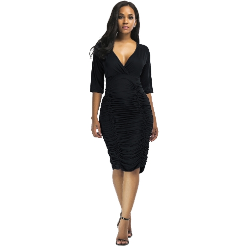 Sexy Women Ruched Bodycon Dress Deep V Neck High Waist Slim Party