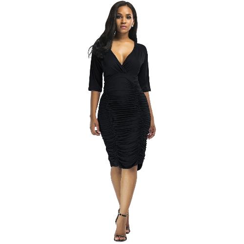 Sexy kobiet Ruched bodycon sukienka głębokie V szyi wysokiej talii Slim Party Club Midi sukienka Plus rozmiar Vestidos