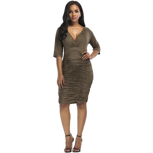 Vestido ajustado acanalado mujer sexy cuello alto en V de cintura alta delgado partido vestido Midi más el tamaño Vestidos