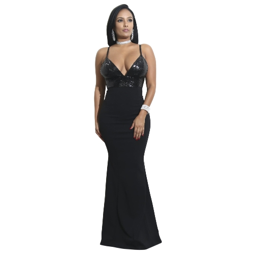 Damska Sexy Sequined V Neck Backless Dress Elegancka Bodycon Night Party Club Maxi Sukienka Black / Burgundy