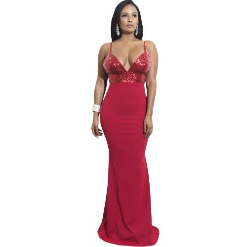 Vestido sin espalda con cuello en V sexy con lentejuelas para mujer Vestido ajustado sin mangas con cuello en V elegante noche Bodycon negro / borgoña