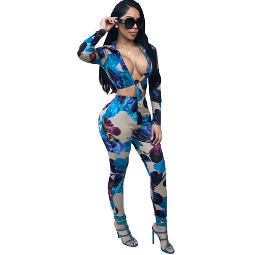 New Sexy Women Print Two-Piece Set Front Knot V Neck Long Sleeve Crop Top High Waist Pants Tracksuit Outfit Blue