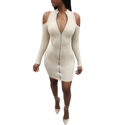 Neue Sexy Frauen Bodycon Minikleid Zip Eröffnung Cold Shoulder Langarm Verband Party Kleid Clubwear
