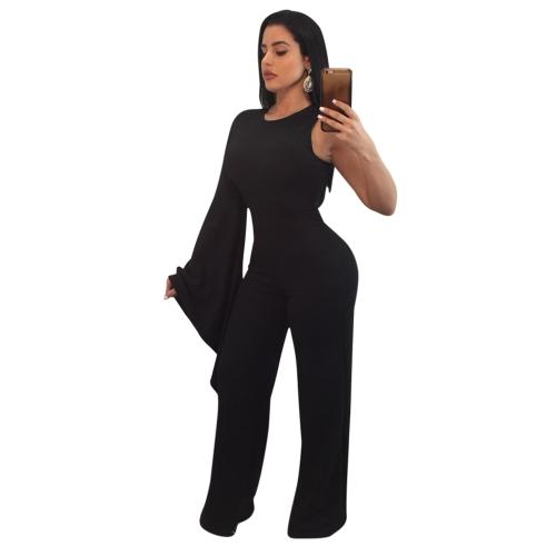 Mono de las mujeres atractivas solos de manga larga pantalones anchos de la pierna Slim Playsuit mamelucos rojo / negro / blanco