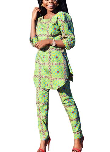 Neue Frauen Plaid Print lange Top-Hose O-Ausschnitt 3/4 Ärmel unregelmäßigen Saum Casual Bluse Hosen zweiteilig