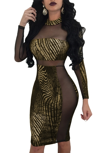 Sexy Frauen Metallic Pailletten Kleid Sheer Mesh Langarm High Neck Bodycon Party Club Kleid Gold