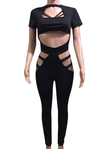 Sexy Frauen Jumpsuit Verband Ausschnitt Kurzarm Solid Strampler Bodycon Playsuit Body Catsuit Königsblau / Rot / Schwarz