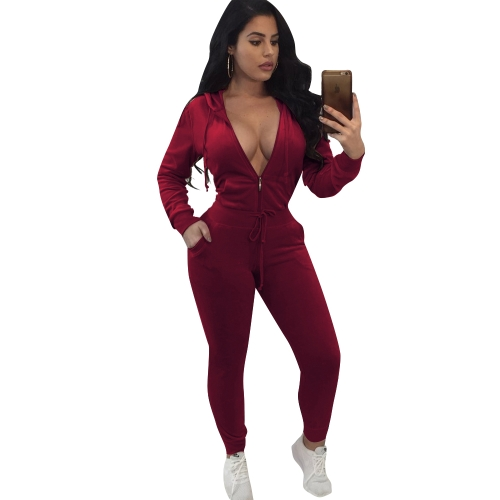 Women Two Piece Tracksuit Long Sleeve Zip Hoodie Sweatshirt Pants Sportswear Fitness Set Suits