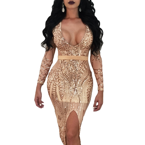 Neue Sexy Frauen Pailletten-Figurbetontes Kleid Sheer Mesh Tiefem V-Ausschnitt Frontschlitz Lange Ärmel Verband Party Kleid Clubwear