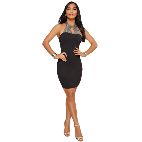 Frauen Sexy Neckholder Kleid Strass Rückenfrei Elegant Bodycon Night Party Club Kleid Schwarz / Rot