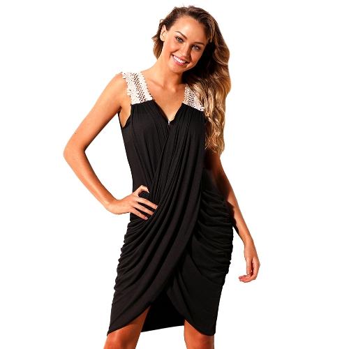 Sommer Frauen Kreuz Strand Kleid tiefem V-Ausschnitt Asymmetrische Casual Tunika Kleid schwarz / rot / blau