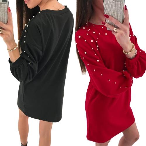 Vestido de mangas largas de las mujeres perlas con cuentas Dropped hombro linterna manguito suelta túnica casual vestido de cambio