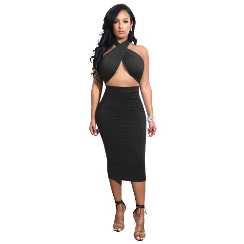 Mulheres sexy midi dress crisscross halter bandage recorte backless sólida magro bodycon dress clubwear