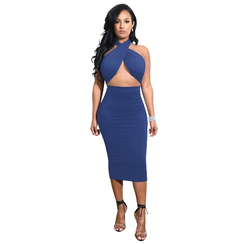 Sexy Women Midi Dress Crisscross Halter Bandage Cutout Backless Solid Slim Bodycon Dress Clubwear