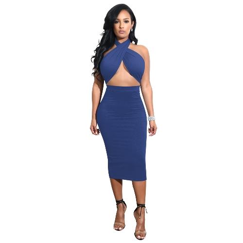Sexy Femmes Midi Dress Crisscross Halter Bandage Décolleté Dos Nu Solid Bodycon Dress Clubwear