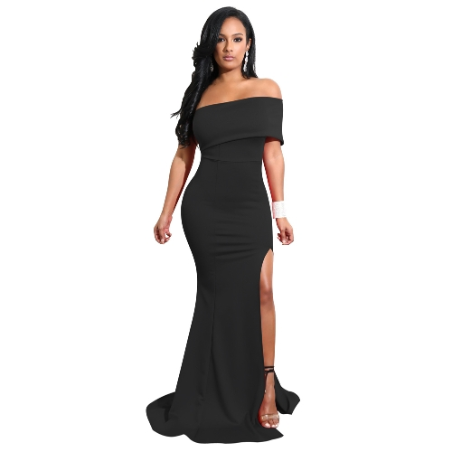 Elegante Frauen Mermaid Maxi Kleid weg von der Schulter High Split Solid Schlank Bodycon Cocktail Party Langes Kleid