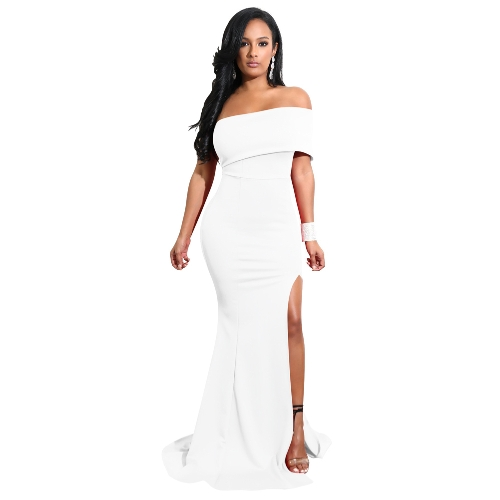 Elegant Women Mermaid Maxi Dress Off the Shoulder High Split Solid Slim Bodycon Cocktail Party Long Dress