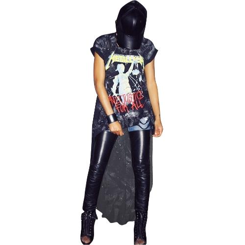Mulheres Sexy T-Shirt Do Vintage Impressão High-Low Hem Mangas Curtas Casuais Streetwear Solto Blusa Pullover