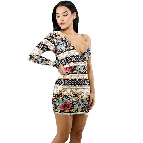 Sexy Women Bodycon Dress One Shoulder Floral Print Party Evening Mini Slim Dresses Clubwear