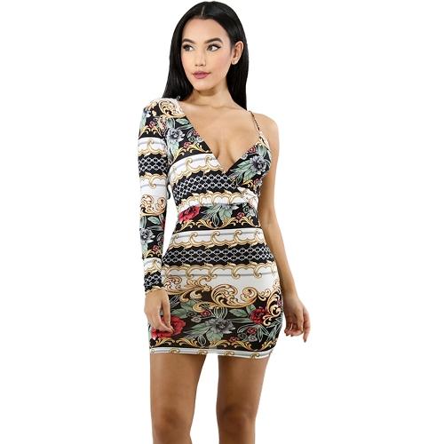 Mulheres Sexy Bodycon Vestido De Um Ombro Floral Imprimir Festa À Noite Mini Vestidos Fino Clubwear