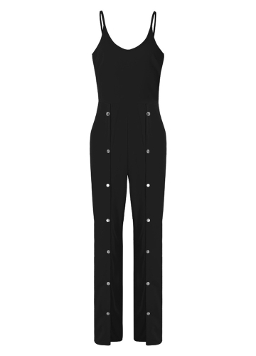 Sexy Women Jumpsuit V Neck Sleeveless Wide Leg Pants Rivet Split Long One Piece Playsuit Rompers