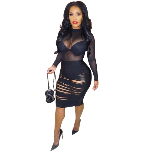 Sexy kobiet Mesh Dress Długie rękawy Hollow Out Sheer Night Club Party Dress Black