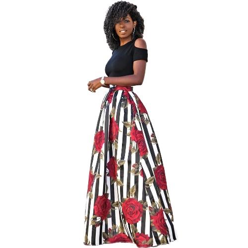 Mulheres Saia Longa Conjunto Listrado Estampa Floral Cintura Alta Ombro Frio T-shirt Queimado Vestido Plus Size Duas Peças