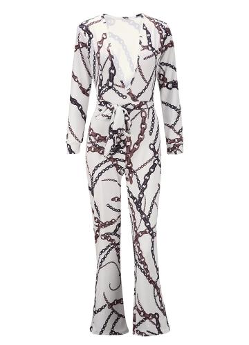 Frauen Jumpsuit Vintage Print tiefes V lange Hülsen-weites Bein Hosen Verband Playsuit Strampler weiß