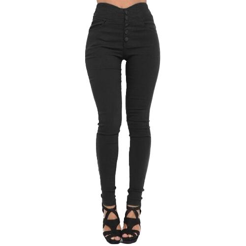 Frauen hohe Taille dünne Hosen elastische dehnbare feste dünne Gamaschen plus Größe beiläufige Bleistift-Hose