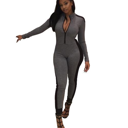 Moda Feminina Manga Comprida Esportes Macacão Estande Cor Macacão Com Zíper Bodysuit Macacão Magro Casual Cinza