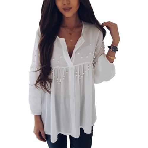 Neue Frauen Elegante Perlen Friesen Chiffon Bluse Langarm V-ausschnitt Casual Shirts Tops Weiß