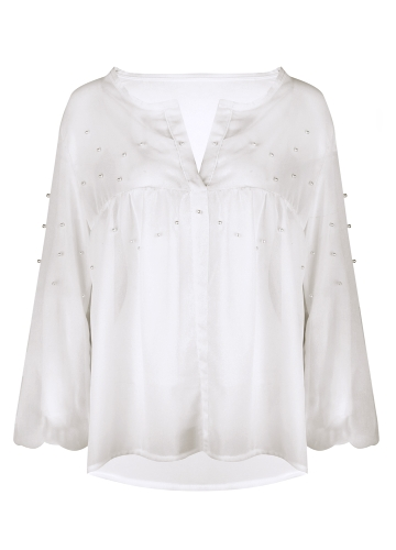 New Women Elegant Pearls Beading Chiffon Blouse Long Sleeve V Neck Casual Shirts Tops White