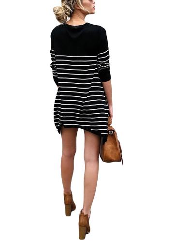 Neue Mode Frauen Gestreiftes T-Shirt O Hals Lange Ärmel Asymmetrische Lange T-shirt Schwarz / Weiß